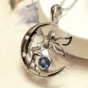 NEW S925 Fairy Princess Angel Moon Necklace
